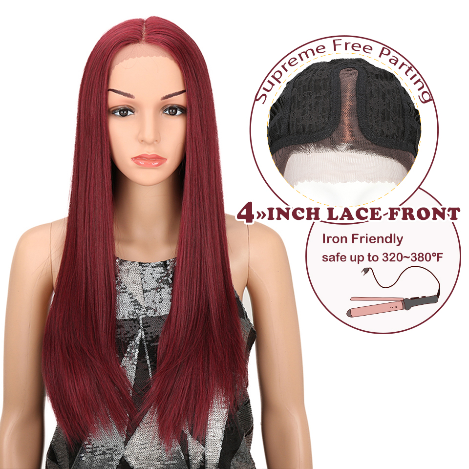 MAGIC Hair High Temperature Fiber Hair For Women Ombre Dark Roots To Red Color Hand Tied Straight Type Synthetic Lace Front Wigs