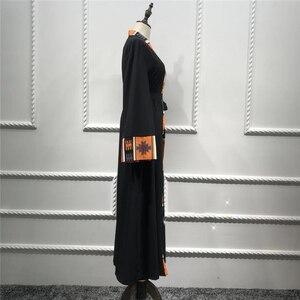 Image 2 - דובאי קפטן מוסלמית בגדים אסלאמיים העבאיה שמלת נשים שרוכים קפטן ארוך גלימת חיג אב שמלת גדול נדנדה גלימת קפטן קימונו Jubah
