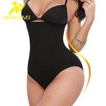 NINGMI Sexy Push Up Butt Lifter Women Slim Tummy Control Panties Bodysuit Waist Trainer Body Shaper Shapewear Slimming Underwear
