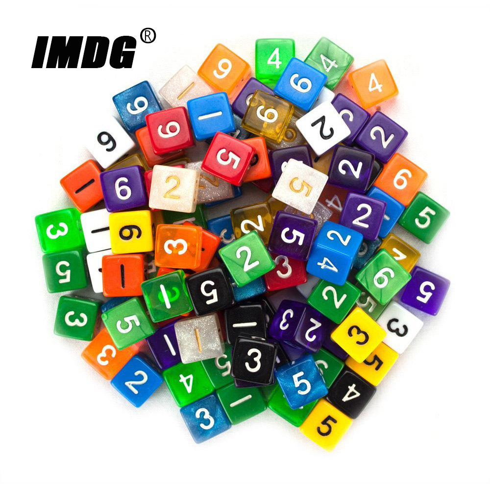 6pcs/pack Acrylic D6 Dice 6-sides Accessories Polyhedron Colorful DND Dice Digital Game Dice