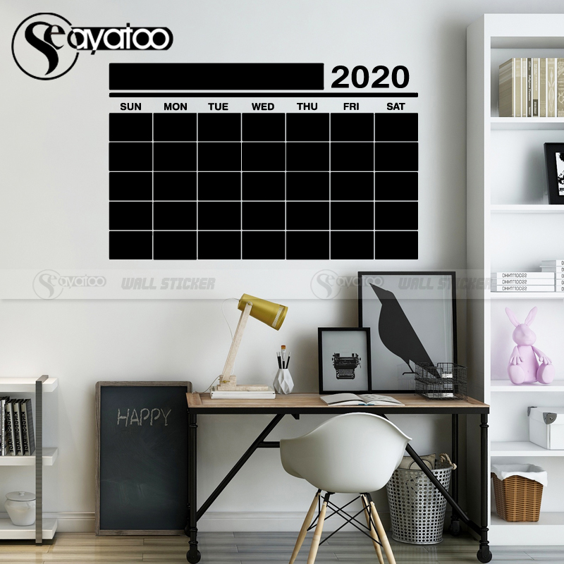2019 This Month Week Calendar Blackboard Chalkboard Vinyl Wall Sticker Decal
