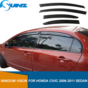 Side Window Deflector For HONDA CIVIC 2006 2007 2008 2009 2010 2011 sedan Window Visor Vent Shades Sun Rain Deflector Guard SUNZ window visor vent shades sun rain guard for toyota prado fj120 2003 2009