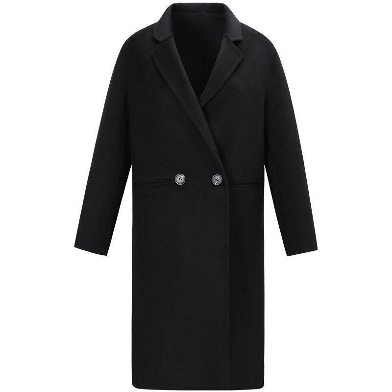 Moda 2019 nuevo otoño invierno abrigo de mujer solapa negro largo abrigo de lana Oficina señoras elegante estilo breve abrigo de lana ropa - 5