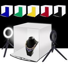 PULUZ 30CM katlanır Lightbox masa üstü çekim Softbox Mini fotoğraf stüdyosu ile halka ışık yumuşak kutu ürün fotoğrafçılığı