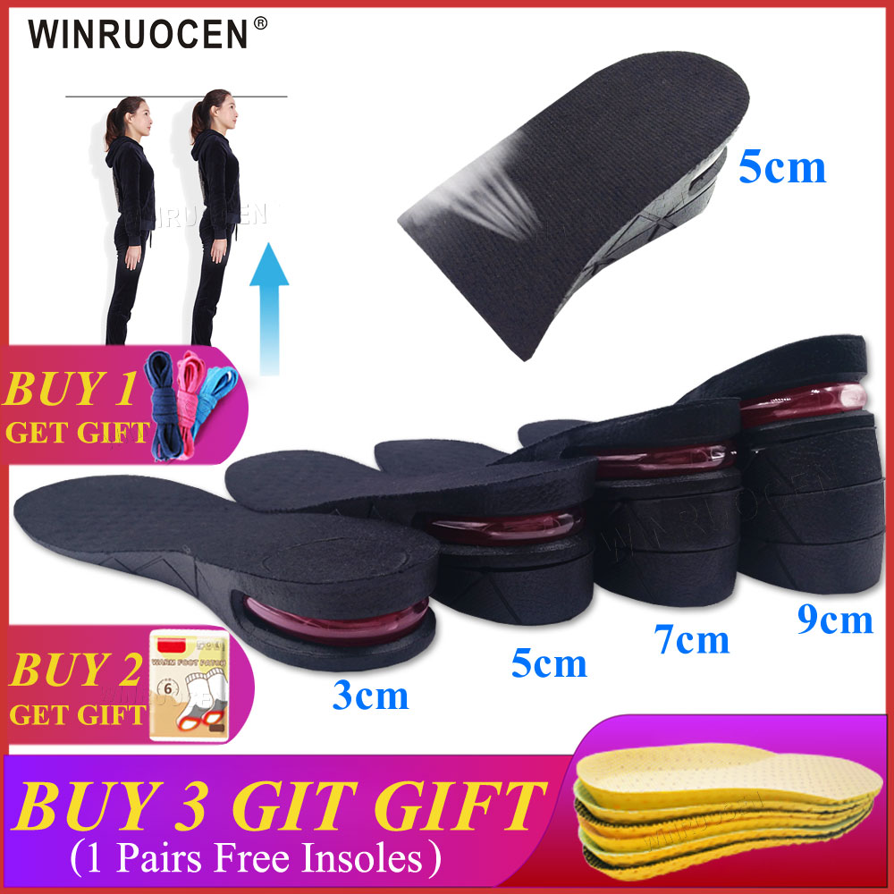 3-9cm Height Increase Insole Cushion Height Lift Adjustable Cut Shoe Heel Insert Taller Elevator Insoles For Foot Pads Unisex