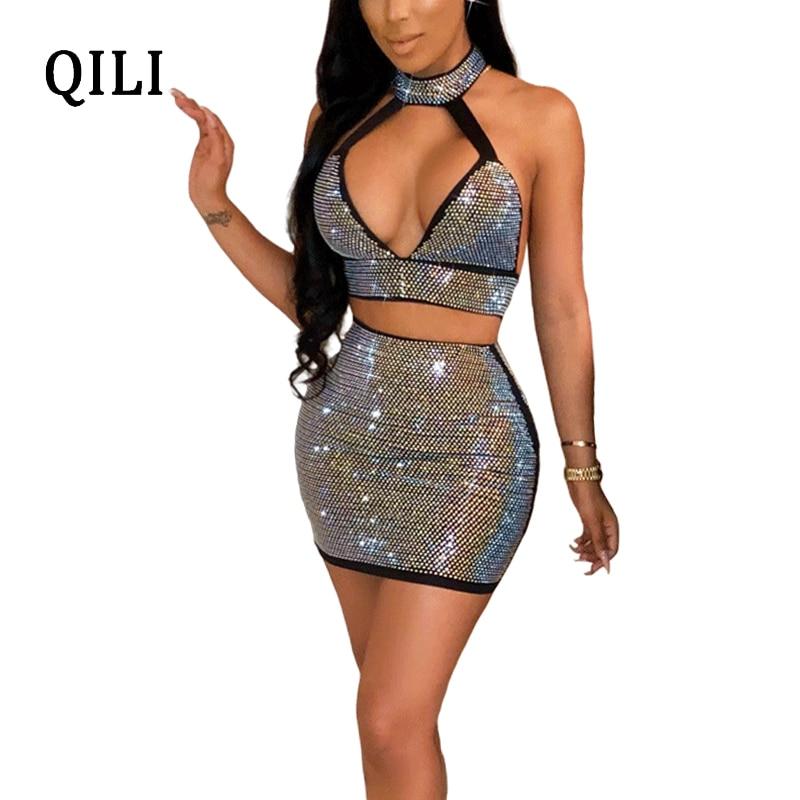 QILI Women Halter Diamonds Dress Sexy Backless Hollow Out Two Piece Set Mini Dresses White Black Rhinestone Dress Femme
