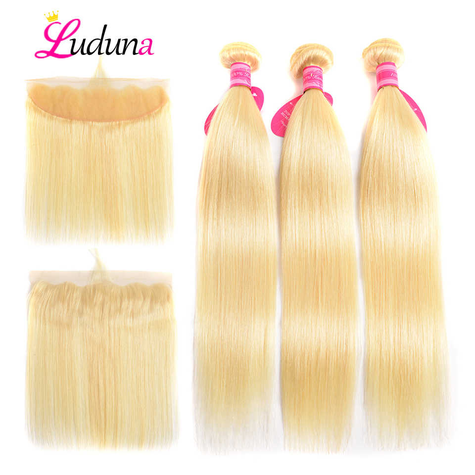 Luduna Blonde 613 Hair Bundles With Frontal Malaysian Straight Human Hair Bundles With Closure 13*4 Remy Hair Extensions