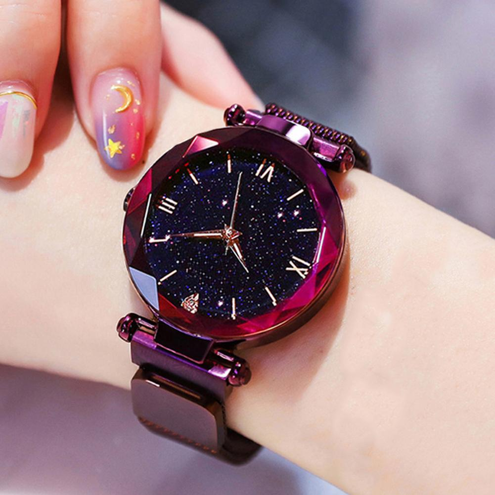 Fashion Luxury Women Starry Mesh Band Magnetic Buckle Roman Numeral Analog Quartz Wrist Watch Gift Elegant Lady Zegarek Damski L