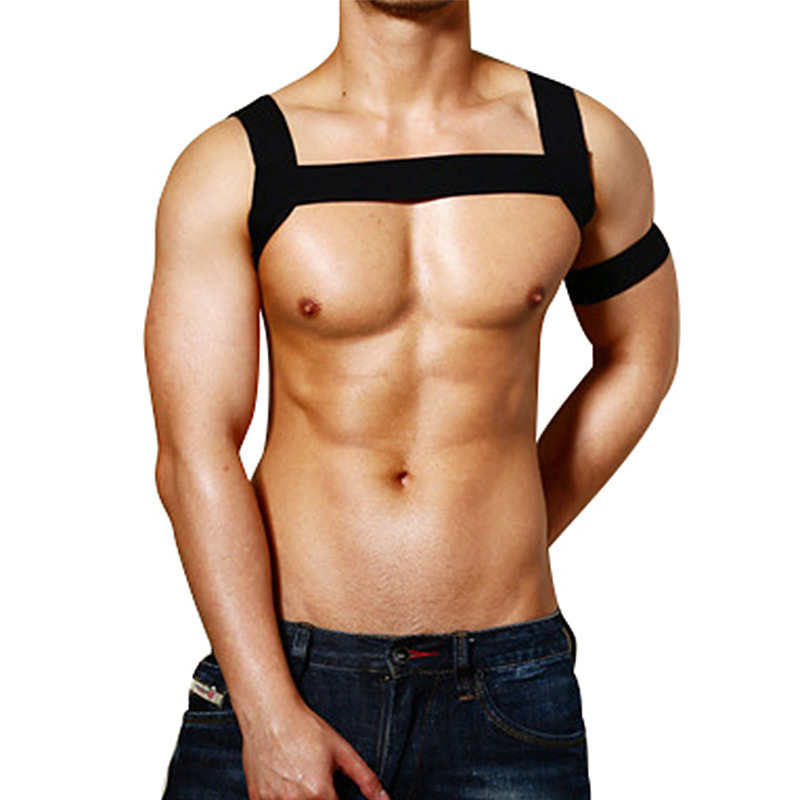 2PCS/Sets Men Body Chest Harness Elastic Arm Shoulder Harness Strap Dance Stage Clubwear Costume Sexy Gay Bondage Crop Tops