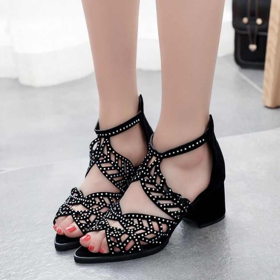 HOT MÙA HÈ 2019 Giày Sandal Nữ Da Lộn Phối Ren Rỗng Thời Trang Khối Chun Giày Khóa Kéo Đầm Nữ Đi Biển Peep Toe Zapatos Mujer