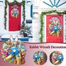 Kawaii Easter Thief Bunny Butt Stuffed Toys Doll Wreath With Ears Cartoon Cute Festival Wall Decoration Door Wreath Ornaments #