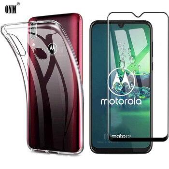 Перейти на Алиэкспресс и купить 2-в-1 стекло + 360 Полное покрытие чехол для Motorola Moto G8 Power Lite силиконовый чехол задняя крышка Moto G8 Plus Play защита экрана