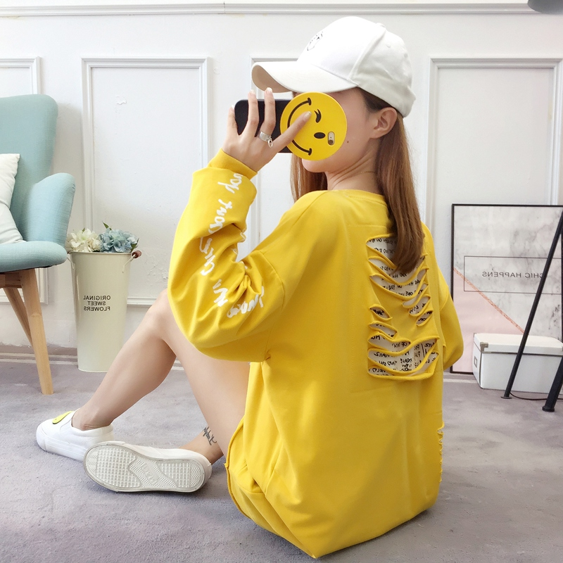 2019 autumn new Korean version of the XL T-shirt women's thin section long-sleeved loose hole wild T-shirt shirt women 67