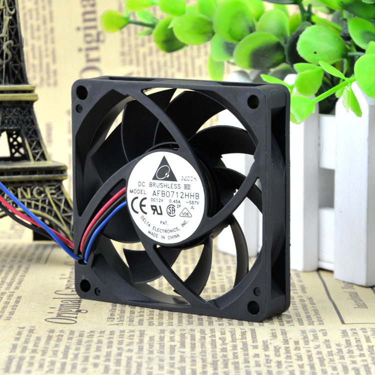 FOR Delta 12V 0.45A AFB 0712 HHB-F007CM 7CM 7015 3-wire cooling fan