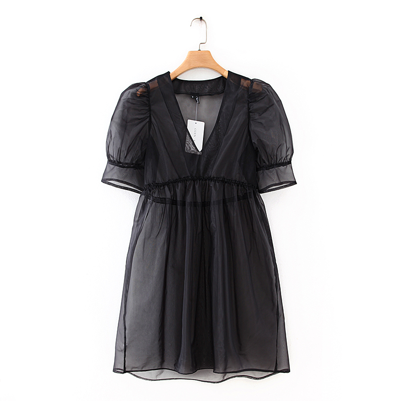 women v neck puff sleeve black organza mini dress female agaric lace transparent vestidos chic casual high waist dresses DS3476