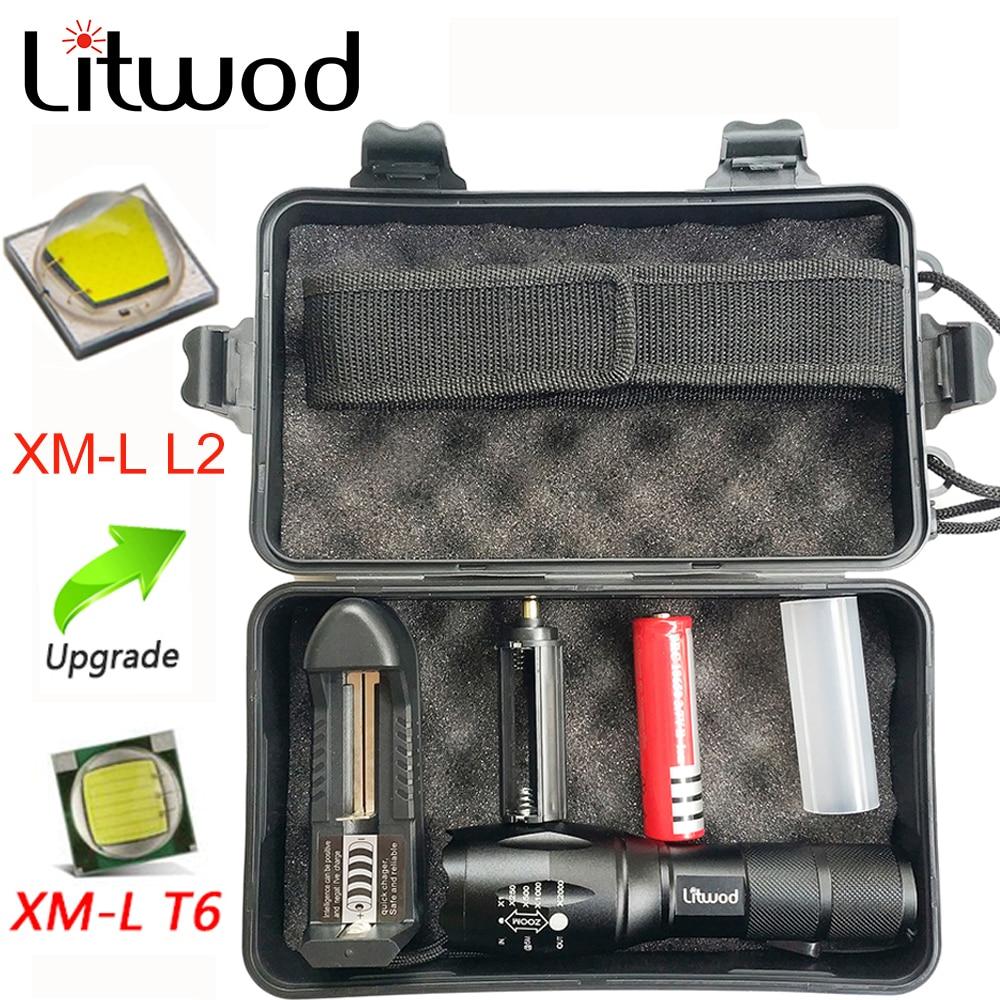 Litwod z25 8000 Люмен светодиодный светильник-вспышка портативный светильник охотничий фонарь 5 режимов XML-T6 L2 масштабируемый ночной Светильник