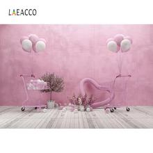 Laeacco Trolley Balloons Wooden Floor Board Heart Pink Photo Backgrounds Portrait Baby Shower Photo Backdrops For Photo Studio