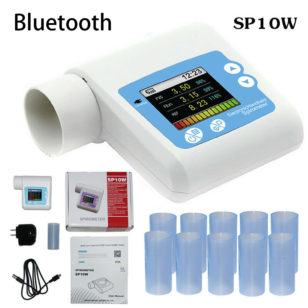 SP10W Handheld Digital Spirometer Portable Lung Breathing Diagnostic Vitalograph Spirometry Volume Device +Mouthpiece +Software