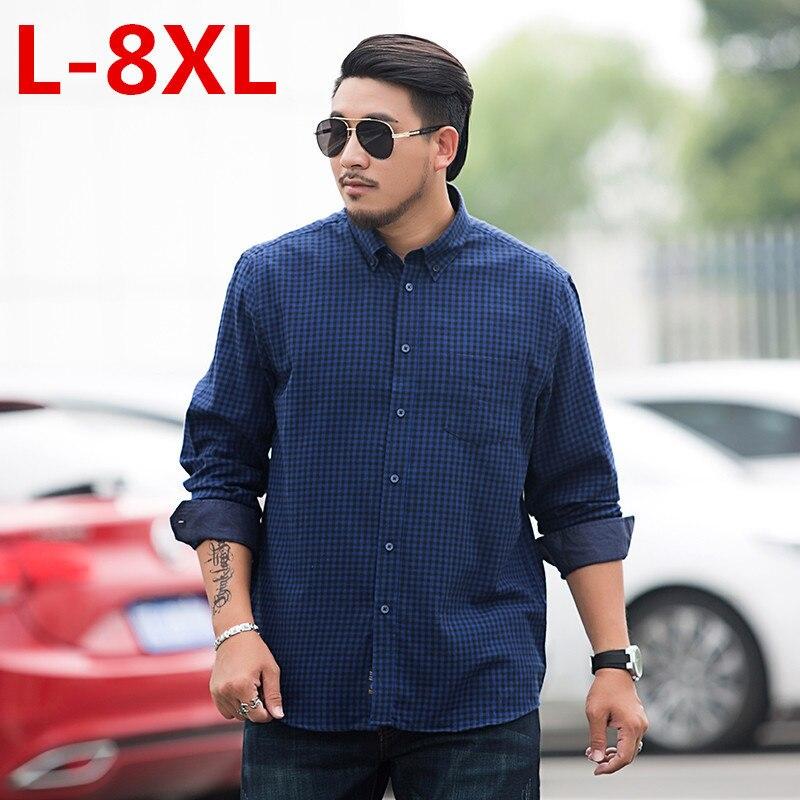New Big Size 8XL 7XL Spring Autumn Male Casual Shirt Men Brand Clothing High Quality 100% Cotton Long Sleeve Plaid Dress Shirt