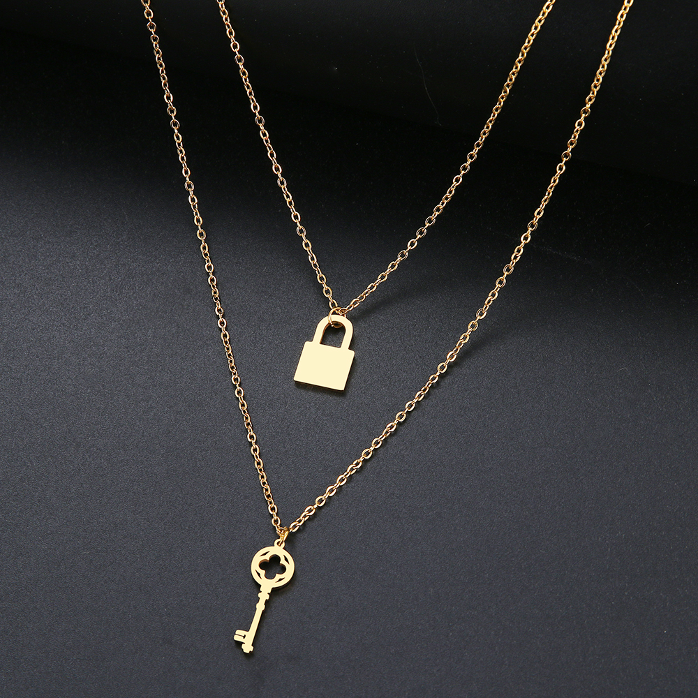 DOTIFI For Women Necklace Simple Star Moon Double Pendant New Stainless Steel Fashion Gold and Silver Color Jewelry