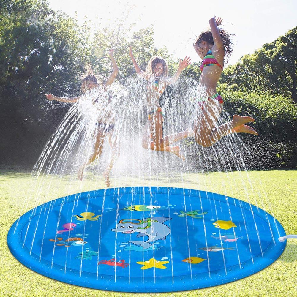 Verão crianças ao ar livre grama almofada de água praia mar animal spray de água inflável crianças aspersão jogo esteira-0