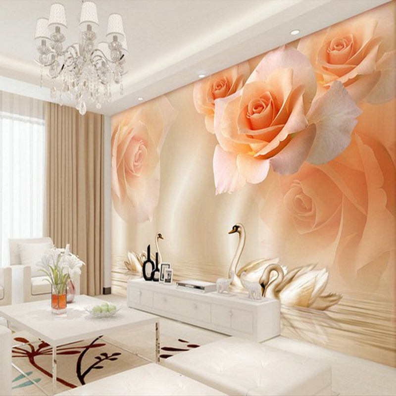 Drop Shipping  Photo Wallpaper 3D Stereo Chinese Yellow Rose Swan TV Living Room Sofa Background Wallpaper Beroom Mural