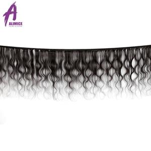 Image 2 - Alimice 実体波人間の髪のバンドル前頭インド毛織り 3 バンドルと閉鎖 13*4 preplucked の remy 毛延長