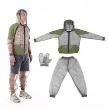 Extérieur moustique répulsif costume Bug veste maille à capuche costumes pêche chasse Camping veste insecte protection maille chemise gants
