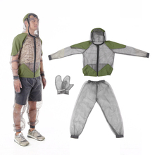 Outdoor Mosquito Repellent Suit Bug Jacket Mesh Hooded Suits Fishing Hunting Camping Jacket Insect Protective Mesh Shirt Gloves