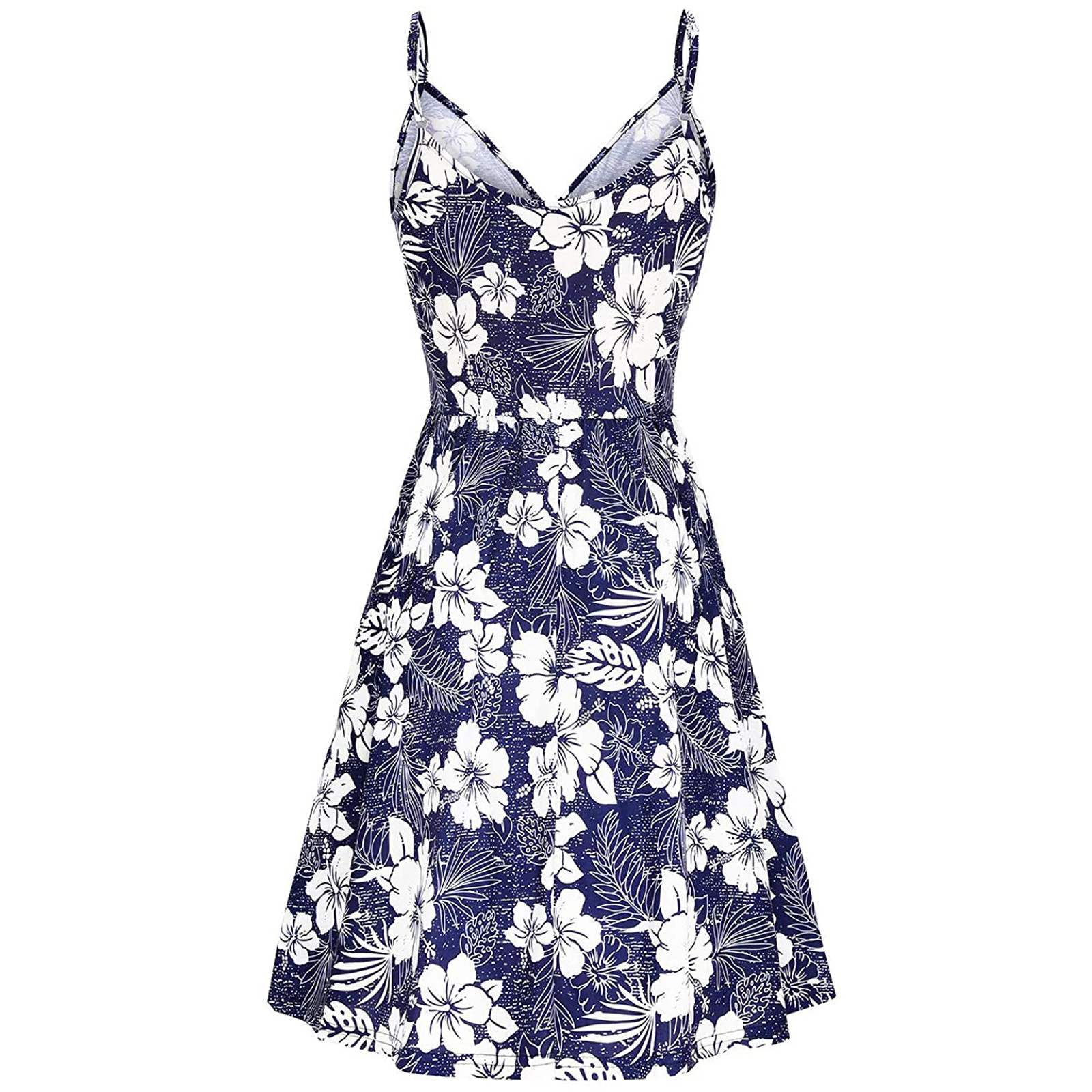 Women's V Neck Floral Spaghetti Strap Summer Casual Swing Dress with Pocket 4