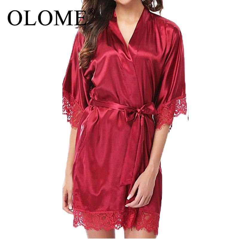 Lace Kimono Sleepwear Robe Women Nightdress Silk Satin Sexy Lingerie Mini Solid Dress V Neck Nightgown Belt Night Wear