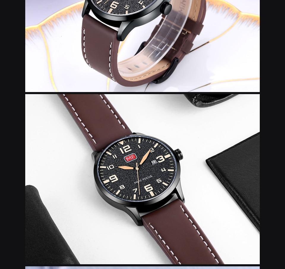 H50c75c9f8560453aba9f9709ff329aa7W MINI FOCUS Luxury Brand Men's Wristwatch Quartz Wrist Watch Men Waterproof Brown Leather Strap Fashion Watches Relogio Masculino