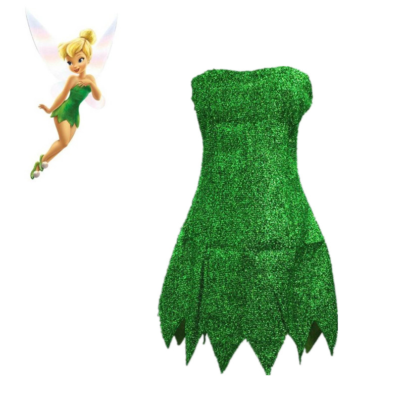 Pixie Tinker Bell Cosplay Dress Adult Halloween Fairy Tale Princess Women Sexy Cosplay Mini Dress Tinkerbell Costume