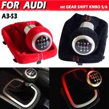 Hige jakości 5/6 prędkości kompletny czarny czerwony gałka zmiany biegów zamsz skóra Gaiter Boot klosz do Audi A3 2001 2002 2003
