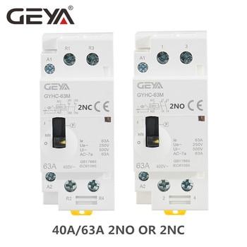 GEYA GYHC 2P 40A 63A 2NO or 2NC Manual Household Modular DIN Rail AC Contactor  AC220V 230V Manual Control 2p 32a 40a 63a 220v 230v 50 60hz din rail household ac contactor 2nc