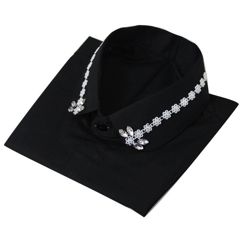 Pearl Diamond Dickie Shirt Women Black Cotton Decoration Lead Fake Collar Detachable New Free Shipping Necklace