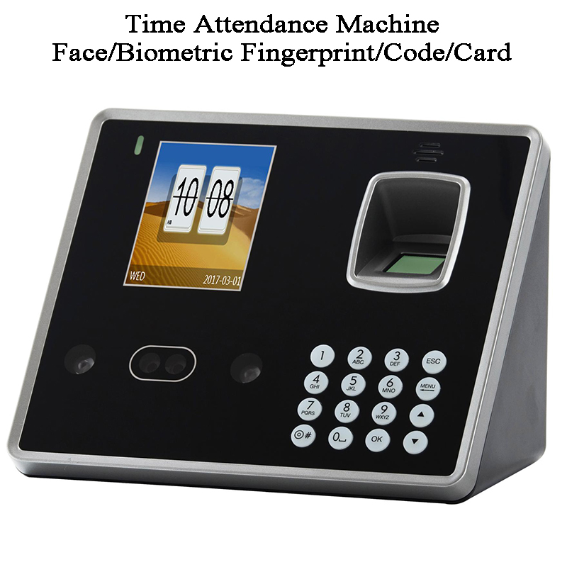 Face Biometric Fingerprint ID Card Office Time Attendance Machine Door Entrance TCP/IP USB Software Data Download Wifi Battery