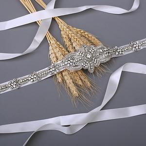 Image 3 - TRiXY S374 יוקרה כלה חגורת כסף חתונת חגורת אבנט Shinny הודי משי חרוזים חגורת רויאל מדליית קרפט יהלומי אבנט כלה חגורת