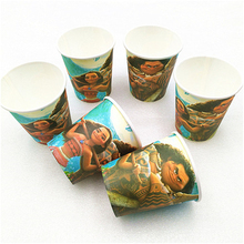 10pcs/lot Cartoon Moana Party Supplies Theme Paper Cups Disposable Tableware Birthday Decorations Baby Shower For Kids Girl Boy