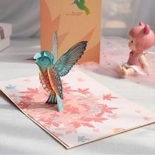 3D Pop-Up Animal Bird Greeting Card for Birthday Mother's Day Wedding Envelope X7XD