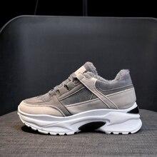 Zapatillas de deporte con plataforma gruesa para mujer, zapatos informales de felpa, cómodos, con cuña, para invierno, 2020