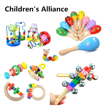 0-12 Months HOT SALE  baby rattle Toys Colorful Wooden Blocks  Music Rattles Graphic Cognition Early Educational Toys For Baby 1