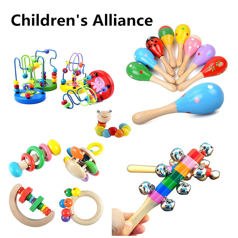 0-12 Months HOT SALE Baby Toys Colorful Wooden Blocks Baby Music Rattles Graphic Cognition Early Educational Toys For Baby