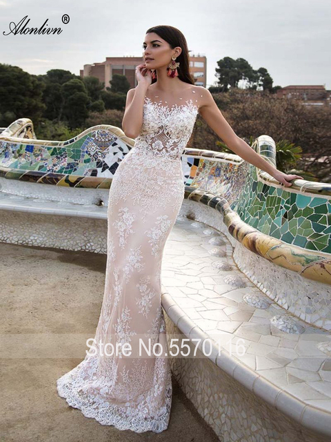 Alonlivn Elegant 2 In 1 Wedding Dress Champagne Tulle With Gold Belt Removable Train Appliques Lace Sleeveless Bridal Gowns 4