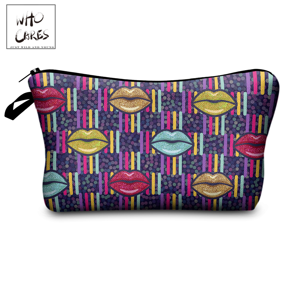 Who Cares Makeup Bags Women Cosmetic Bag Glitter Lips Printing Oiletry Bag Cosmetics Pouchs For Travel Make Up Bag