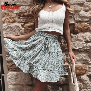 Image 2 - women skirts 2019 floral printed A line mini skirts Cotton Ruffles pleated girls skirts beach holidays casual skirts S XXL