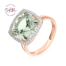 SKM 14k rose gold Amethyst rings for women flower Engagement rings designer Anniversary Luxury Fine Jewelry