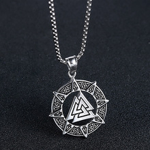 New Retro Nordic Rune Viking Celtics Necklace Round Pendant Stainless Steel Chain 24Inch for Men Friends Father Jewelry Gift