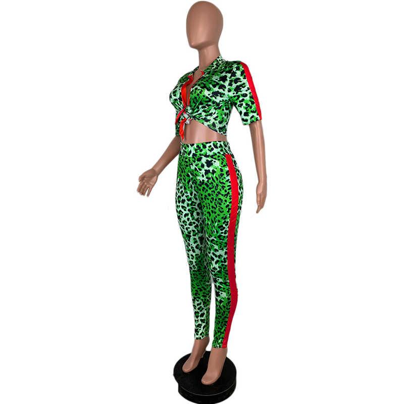 Womens Leopard Letter Print Long Sleeve 2 Piece Outfits Lapel Front Tie Crop Top Pencil Pants Jumpsuits Plus Size