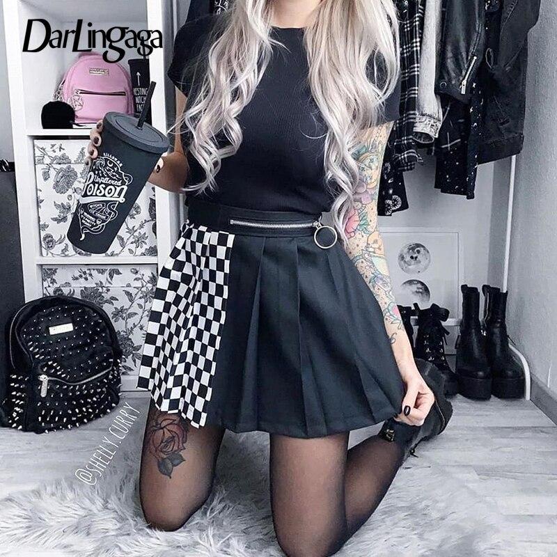 Darlingaga Gothic Black Checkerboard Pleated Skirts Women Fashion 2020 Contrast Color Zipper High Waist Skirt Short Summer Skirt